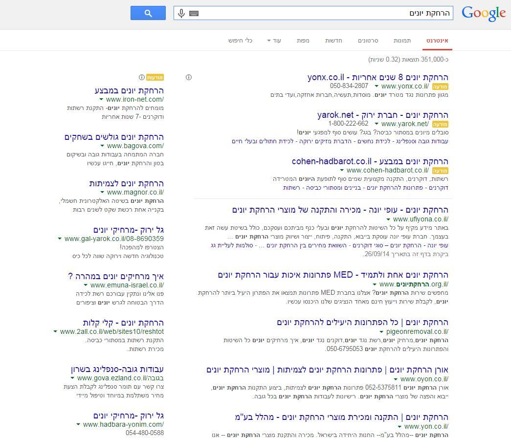 דף תוצאות גוגל
